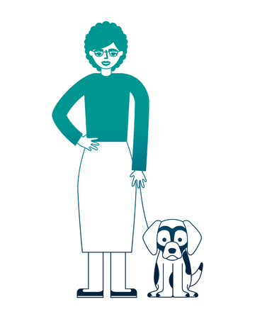 grandmother standing with her beagle dog vector illustration neon desing