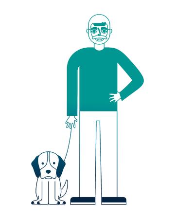 grand-père debout avec son chien vector illustration néon desing Vecteurs