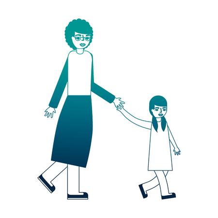 grandmother holding hand granddaughter walking vector illustration neon desing Ilustrace