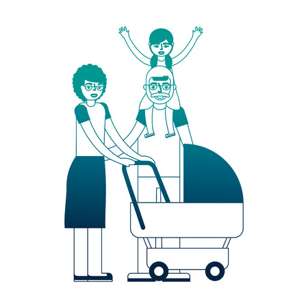 grandparents with graddaughter and baby pram vector illustration neon desing