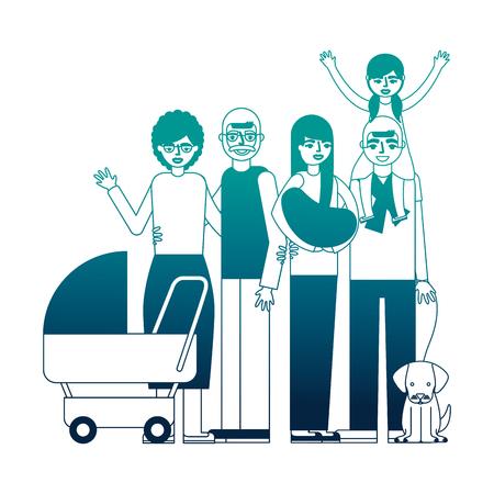 grandparents parents baby little girl and dog family vector illustration neon desing Çizim