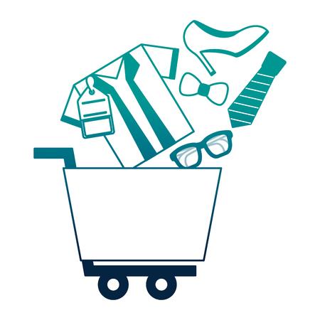 shopping cart tshirt tie shoe glasses buy online vector illustration neon desing