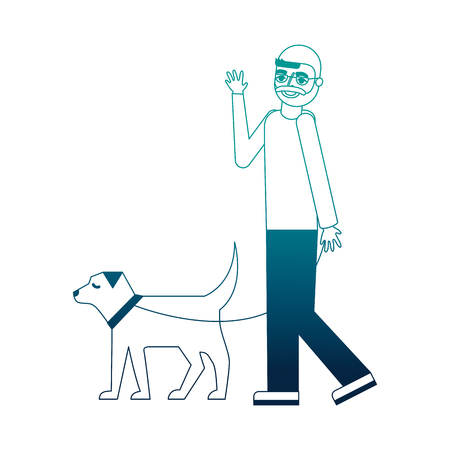 grandfather walking with her dog vector illustration neon desing