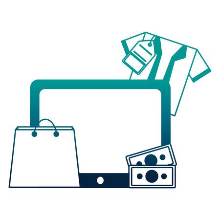 tablet mobile shopping bag shirt money buy online vector illustration neon desing