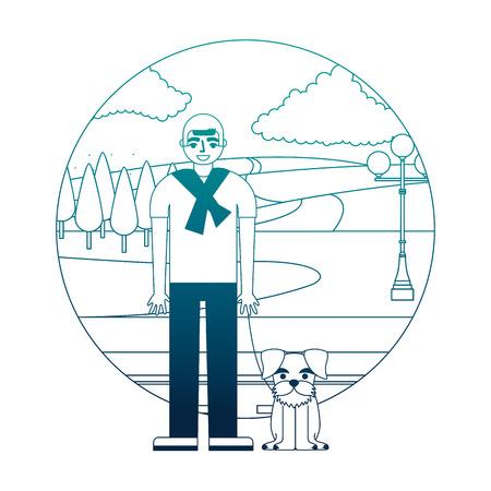 man standing near her schnauzer dog in the street park vector illustration neon desing