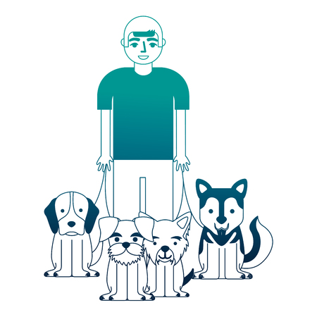 young man walking with dogs vector illustration neon desing Illustration
