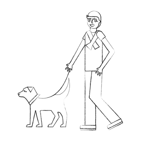 man walking with her dog pet vector illustration hand drawing Stock fotó - 112326288
