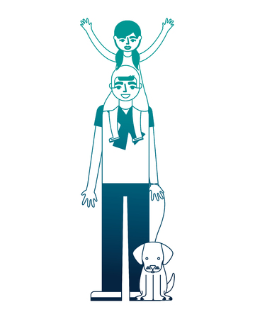 father carrying her daughter on shoulders and holding dog vector illustration neon desing