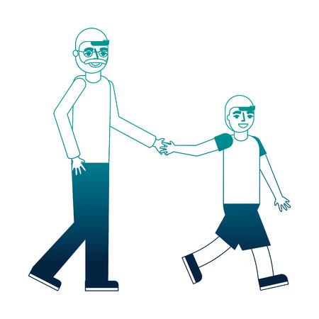 grandfather holding hand grandson walking vector illustration neon desing Ilustração
