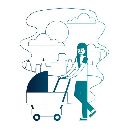 mother walking with pram baby in the street city vector illustration neon desing