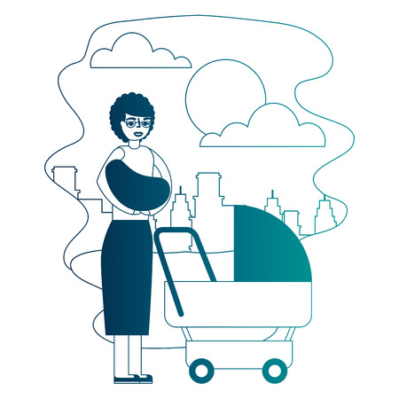 grandmother carrying grandchild on arms and pram in the park city vector illustration neon desing