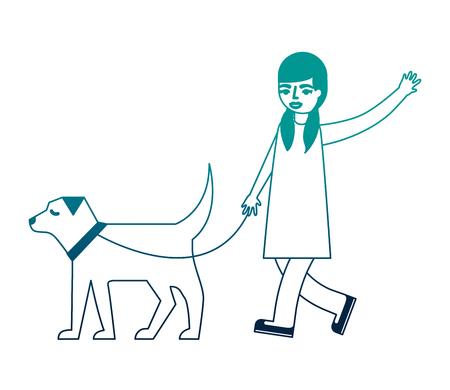 little girl walking with her dog pet vector illustration neon desing