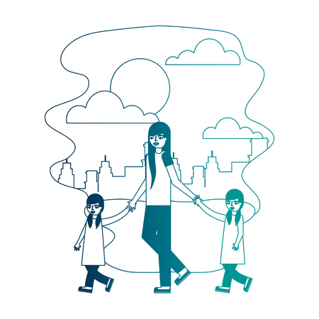 mother walking with twin daughters in the park city vector illustration neon desing 向量圖像