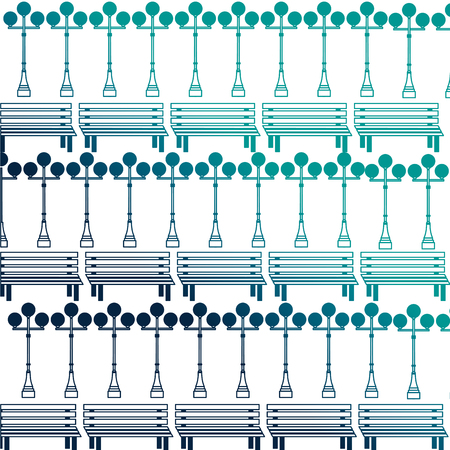 bench and lampost decoration pattern vector illustration neon desing