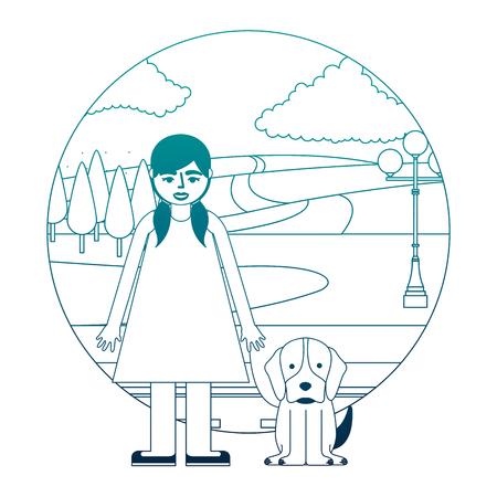 niña con perro en el parque de la calle ilustración vectorial diseño de neón Ilustración de vector