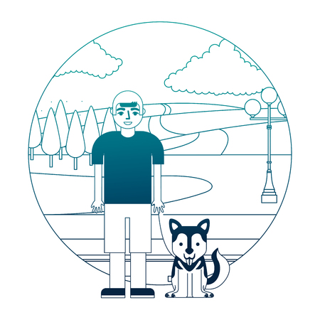 boy with her siberian dog in the street park vector illustration neon desing