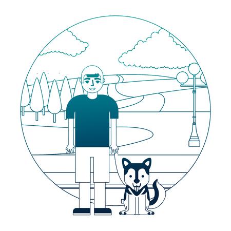 boy with her siberian dog in the street park vector illustration neon desing Banco de Imagens - 105677506