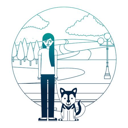 woman standing with siberian dog in the street park vector illustration neon desing Ilustração