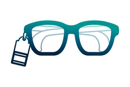 glasses vision tag price commerce vector illustration neon desing Foto de archivo - 112326315