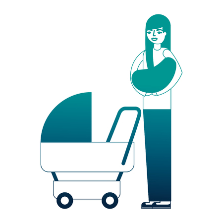 mother carrying her baby on arms and pram vector illustration neon desing 스톡 콘텐츠