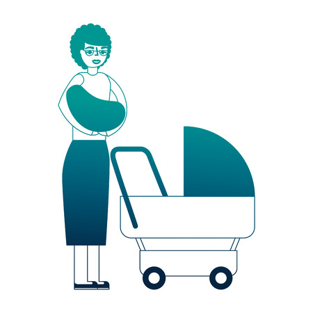 grandmother carrying grandchild on arms and pram vector illustration neon desing Stock fotó