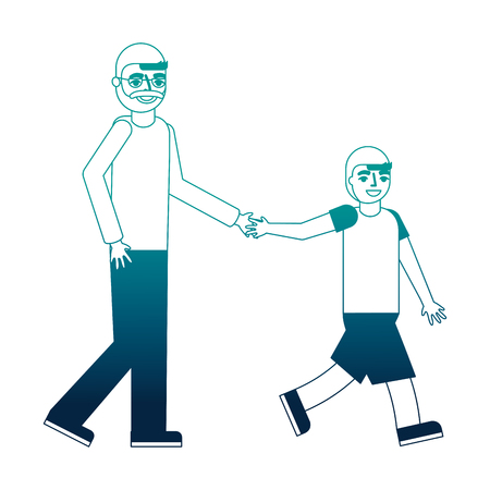 grandfather holding hand grandson walking vector illustration neon desing Stock fotó