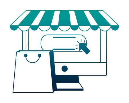 computer buy online shopping bag vector illustration neon desing 写真素材