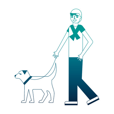 man walking with her dog pet vector illustration neon desing