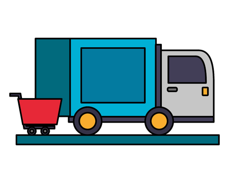 delivery truck with shopping car icon vector illustration design Imagens