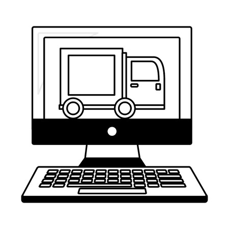 computer with delivery truck isolated icon vector illustration design