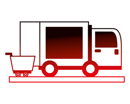 delivery truck with shopping car icon vector illustration design  イラスト・ベクター素材