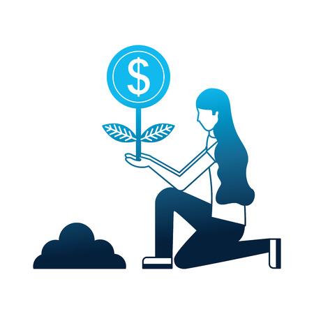 person planting money character vector illustration design Stock Illustratie