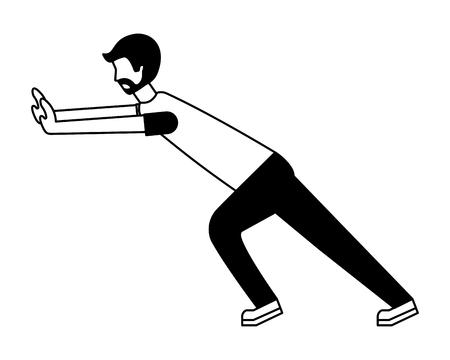 young man pushing avatar character vector illustration design Ilustração Vetorial
