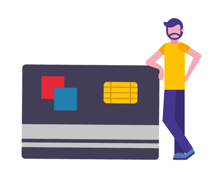 credit card money with man character vector illustration design