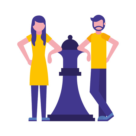 couple with queen chess piece isolated icon vector illustration design Иллюстрация