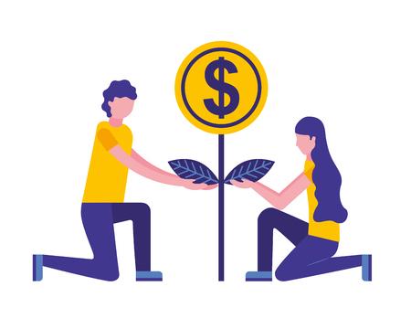 person planting money character vector illustration design Ilustração