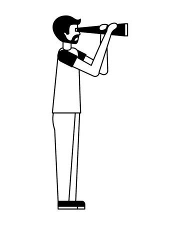 young man with telescope avatar character vector illustration design