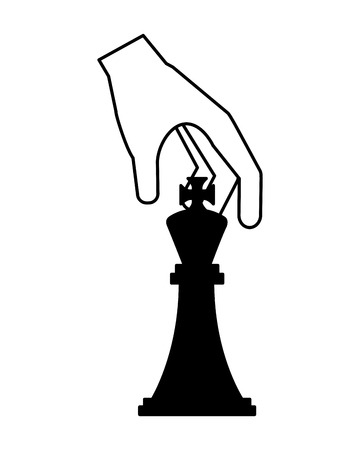 hand with queen king piece isolated icon vector illustration design