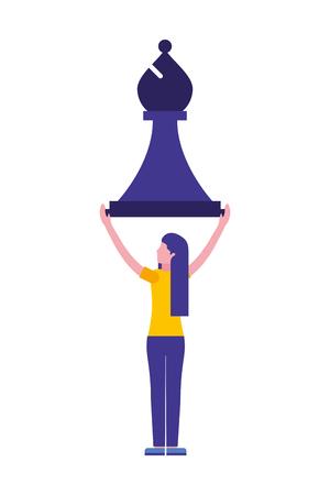 Frau mit Bischof Schachfigur isoliert Symbol Vektor Illustration Design