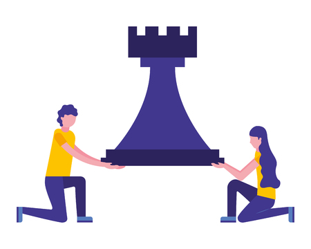 couple with tower chess piece isolated icon vector illustration design