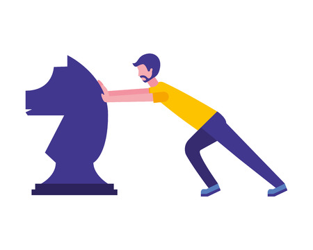 young man pusing horse chess piece isolated icon vector illustration design Standard-Bild - 112326555