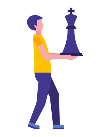 young man with king chess piece isolated icon vector illustration design  イラスト・ベクター素材