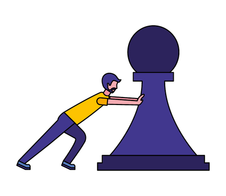 young man pushing pawn chess piece isolated icon vector illustration design Illustration