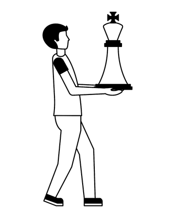 young man with king chess piece isolated icon vector illustration design 일러스트