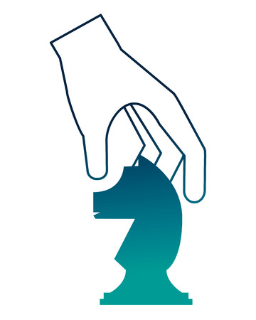 hand with horse chess piece isolated icon vector illustration design Standard-Bild - 112326597