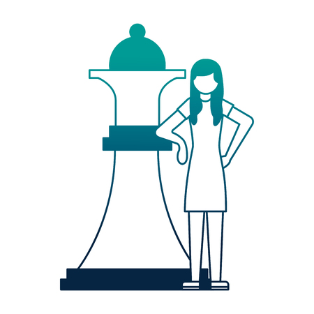 young woman with queen chess piece isolated icon vector illustration design