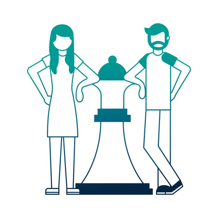 couple with queen chess piece isolated icon vector illustration design Illustration