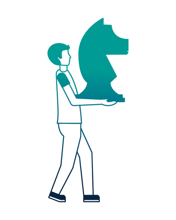 young man with horse chess piece isolated icon vector illustration design Illustration