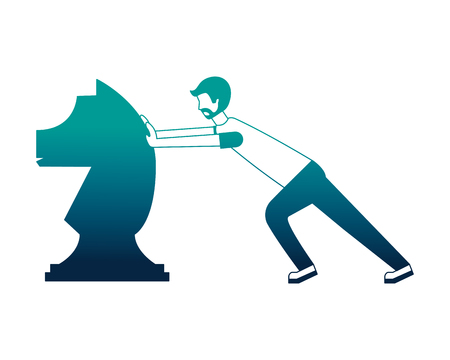 young man pusing horse chess piece isolated icon vector illustration design