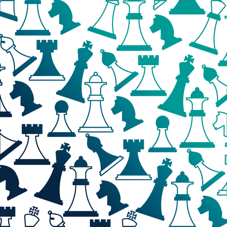 set chess pieces icon pattern vector illustration design